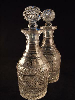 Pair of anglo Irish cut glass decanters c1820