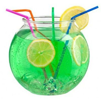 "2 Litre 6"" Durable Plastic Cocktail Fish Bowl Party Drinks Punch Drinking Game"