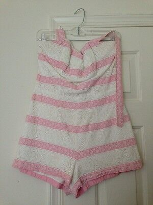 Rose Marie Reid Pink White Striped Bathing Swim Playsuit Romper 50s Eyelet Lace