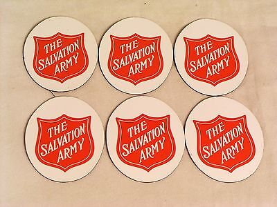 """Salvation Army - 6 RED SHIELD REFRIGERATOR MAGNETS - 2"""" OVAL"""