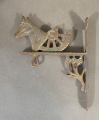 Vintage Primative Cast Iron Rusty Horse With Wheel Wall Hook