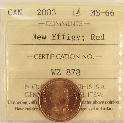 2003 New Effigy , Canada 1 Cent  ICCS graded MS-66; RED (small cent or penny)