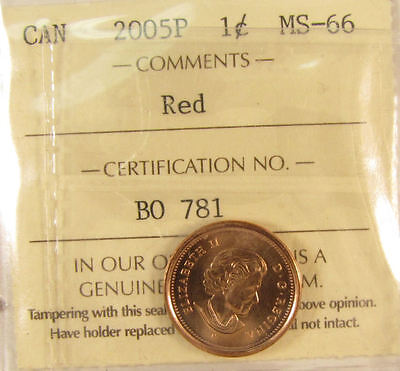 2005 P (magnetic), Canada 1 Cent  ICCS graded MS-66; RED (small cent or penny)