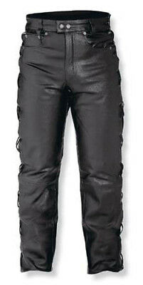 Mens Motorcycle Motorbike Biker Leather Trousers Jeans Laces Cruiser Sonicmoto