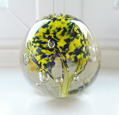 """Cobalt Blue & Yellow Tree Form Paperweight Art Glass 2 1/2"""" Bubbles Not Signed"""