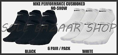 New Youth Nike Performance Cotton Cushioned No-Show Socks 6 Pair / Pack
