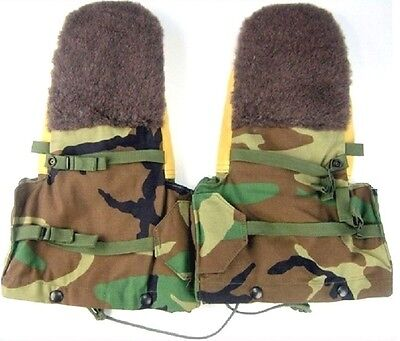 NEW USGI Military Issue Woodland Camo Arctic Mittens Extreme Cold Gloves Large