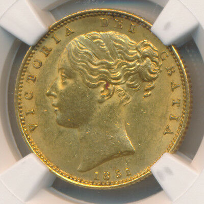 Great Britain GOLD Sovereign 1851 Far Date - NGC MS 62