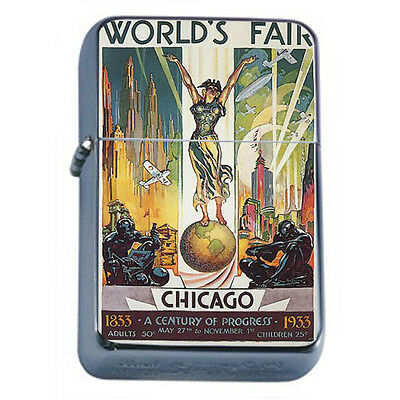 Vintage Poster D42 Windproof Dual Flame Torch Lighter Retro Worlds Fair Chicago