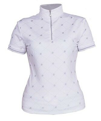 New!! Fair Play 'suzy' Zip Neck Competition Shirt In White/silver