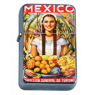 Vintage Poster D45 Windproof Dual Flame Torch Lighter Girl Fruits Mexico Travel