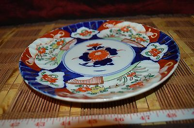 Antique Vintage Japanese Imari Plate Porcelain Hand Painted Dish Scalloped