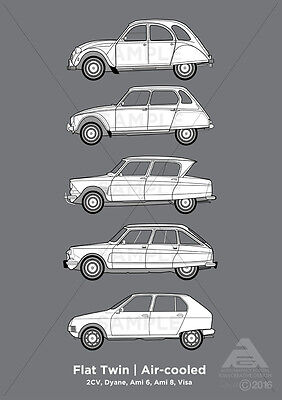 Citroen Flat Twin | Air-cooled (2cv, Dyane, Ami 6 & 8 & Visa) A3 Poster Print