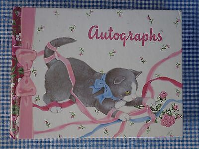Blank Autograph Book Cute Gray Cat Claire Bannister C.R. Gibson ~ FREE SHIPPING
