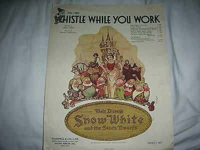 Vintage DISNEY Snow White SHEET MUSIC Whistle While You Work COLOUR picture 1938
