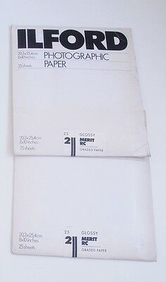 Ilford Merit RC 8 x 10 Glossy Phitgraphic Paper 2 x 25 Sheets