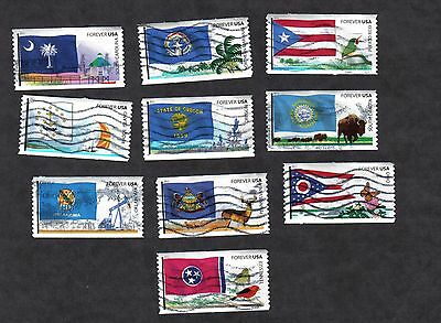 #4313-22 Flags of our Nation Set #5, Used Set of 10, Forever, Off Paper