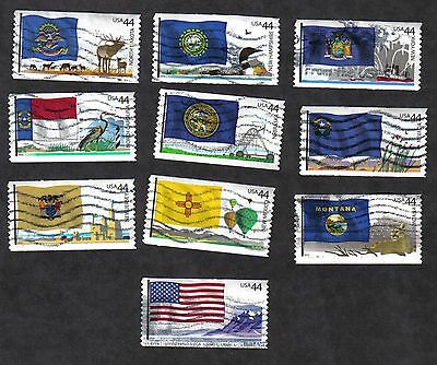 #4303-12 Flags of our Nation Set #4, Used Set of 10, 44 cent, Off Paper