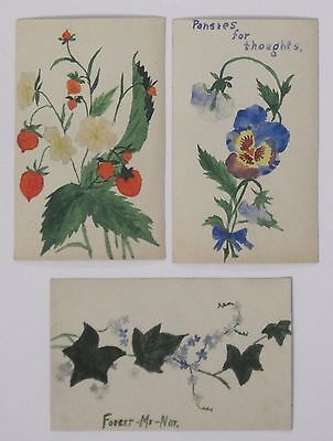 3 HAND PAINTED, HANDMADE Postcards Forget Me Not, Pansy & Strawberries - THREE