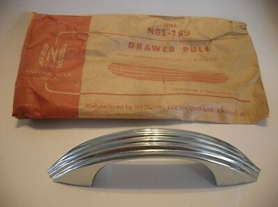 Vintage NOS Chrome Steel DRAWER Pull Ribbed Lines Cabinet Handle National Lock