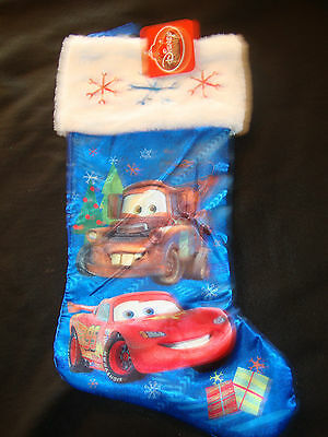 Disney  Cars Mcqueen & Tow Mater   Satin  Christmas Stocking Nwts Furry Top