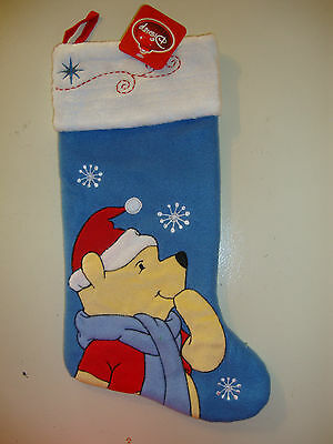 Disney  Pooh  Appliqued / Embroidered Christmas Stocking Nwts