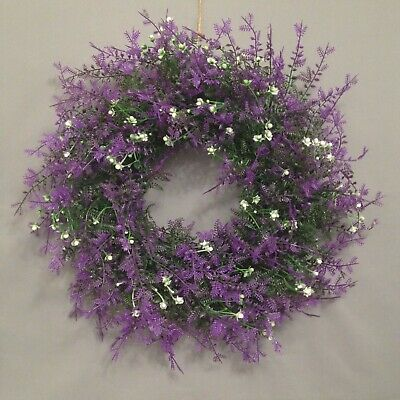 35cm Large Artificial Faux Meadow Hanging Table Door Spring Wreath Lavender