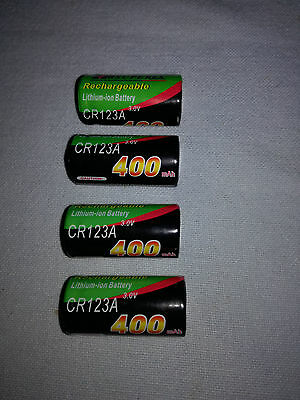 4 piles rechargeables CR123A 3V 16340 Lithium ion 400 mAh