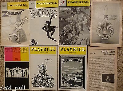 8 Playbills 1969 & early 1970s ~Zorba, Candide, Pippin ~Imperial, Alvin theaters