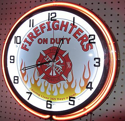 "19"" Double Neon Clock Firefighters on Duty 365 Chrome Finish"