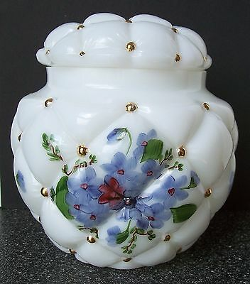 Consolidated Glass CON CORA OPAQUE GLASS BISCUIT JAR #473 PURPLE VIOLETS; GOLD