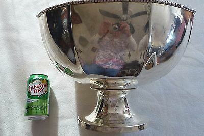 """Elegant Punch Bowl Silver Round Victorian Pre-owned 10hX14wX7""""d Large Quantity"""
