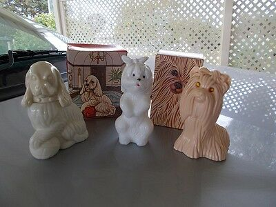 vintage avon dogs,princess of yorkshire,lady spaniel,dog with toothache bottles