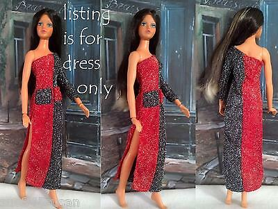 Vintage Barbie Tuesday Taylor Dress Black & Red Glitter Montgomery Wards H Kong