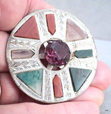 "VTG Stone & Silverplate Brooch Scotland Miracle Hallmarked 2"" Faceted - Estate"