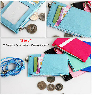 ID Card Badge Holder Unisex Zip Case Purse Wallet Pouch Lanyard Necklace Strap