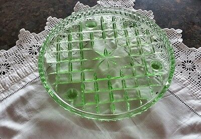 Vintage Green Depression Glass Footed Cake Stand