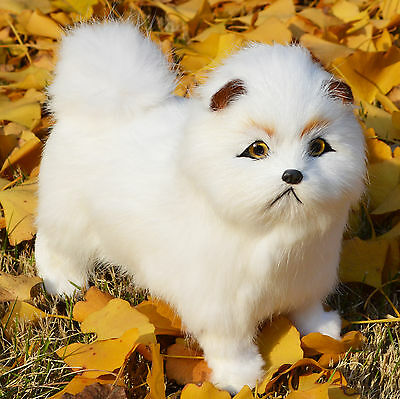 Realistic Cute White Chow Dog Rabbit Fur Lifelike Furry Animal Decor Prop Model