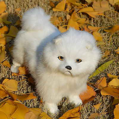 Realistic Cute Chow Dog Lifelike White Furry Puppy Rabbit Fur Animal Decoration