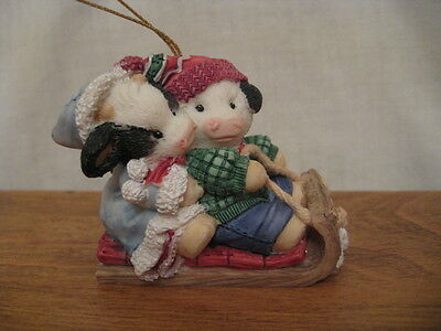Mary's Moo Moos On A Sled Ornament