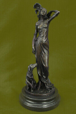 Handcrafted Detailed 1940 Styled Woman with Dog Bronze Sculpture Home Decor Sale