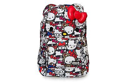 NWT Loungefly Hello Kitty All Stars Print Face Backpack with Ears & 3D Red Bow