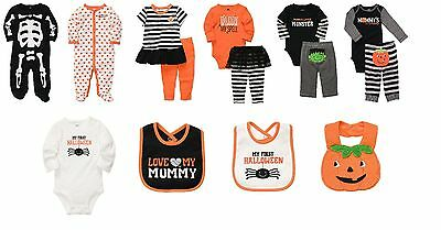 NEW NWT Boys Girls Carter's Halloween Sets Newborn 3 6 9 Months Sleepers Bib