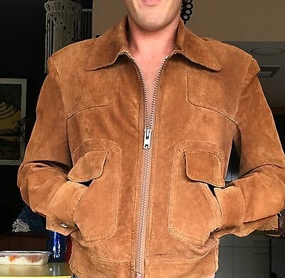 VINTAGE 70's TAN SUEDE LEATHER JACKET CLASSIC STYLE AUSTRALIAN MADE 38