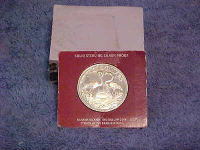 1975 Proof Bahamas $2 Sterling Silver coin COA