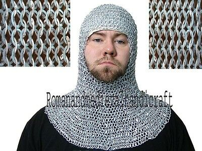 Chain mail 10 mm  flat riveted with soiled ring coif / hood medieval hood