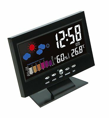 Digital LCD Snooze Bedside Alarm Clock with Weather Station LED Backlight Colour