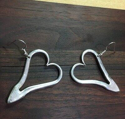 VINTAGE ANTIQUE SPOON/ FORK Heart Earrings Silverware Jewelry Valentines