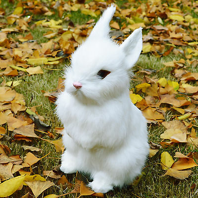 Lifelike Realistic White Sitting Rabbit Decor Figurine Bunny Fur Furry Animal