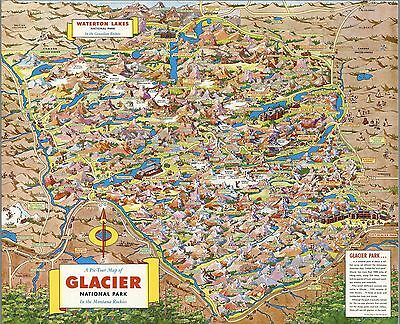 1953 pictorial map Pic-Tour Glacier National Park Montana Rockies POSTER 8868003